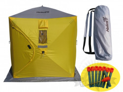Палатка зимняя куб Helios 1.8x1.8 (желтый/серый)